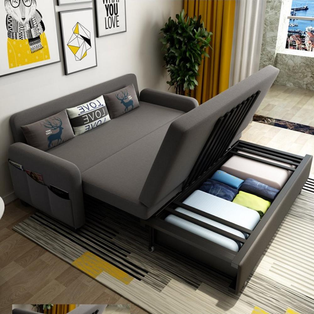 Ghế sofa giường A267 kích thước rộng 160cm dài 192cm cao 38cm (Tặng 3 gối êm ái), có ngăn chứa đồ phía dưới, khung thép cao cấp, ghế sofa kéo thành giường ngủ, giường gấp gọn thành ghế