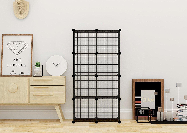 Kệ trưng bày 8 ô lắp ghép, tủ lưới sắt sơn tĩnh điện màu đen, kích thước cao 148cm x ngang 70cm x sâu 37cm