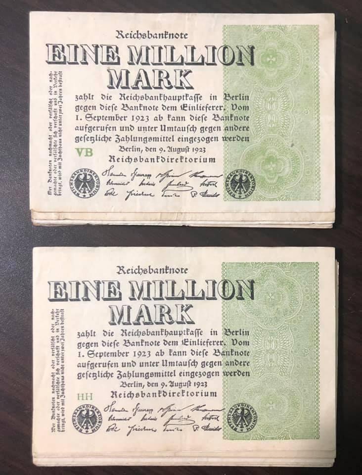 Tiền cổ Đức gần 100 năm tuổi, tờ Eine Million Mark 1923 in chỉ một mặt, bóng chìm cực đẹp