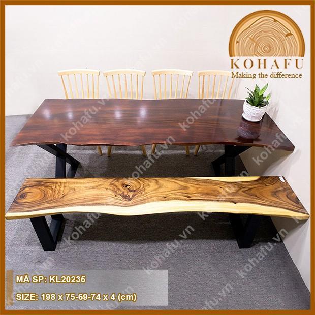 Mặt bàn gỗ me tây nguyên tấm, sơn dậm màu dài 198 x rộng (75-69-74) x dày 4 (cm) - KL20235