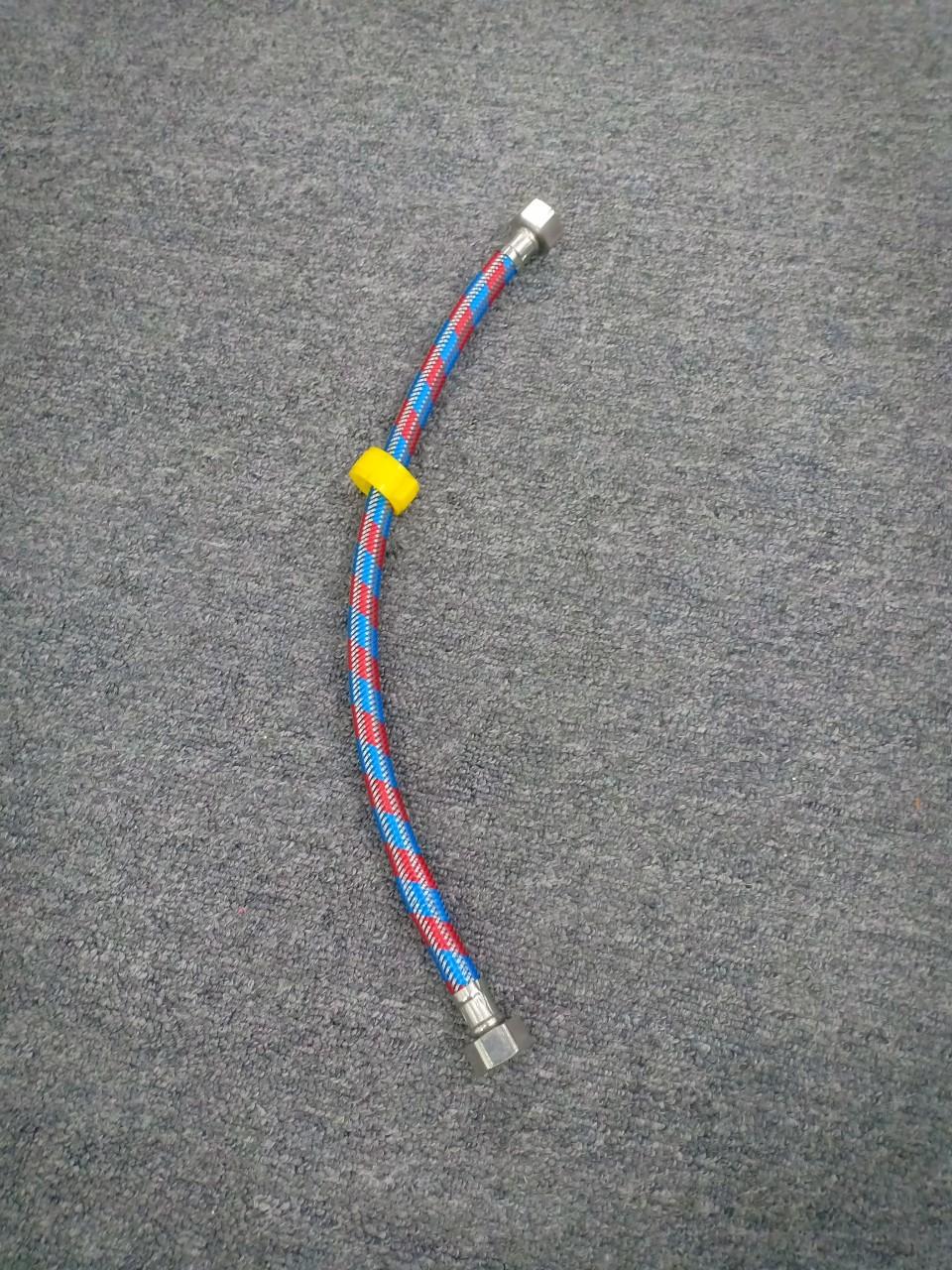 Combo 2 Dây cấp nước thép không gỉ 304 màu xanh, đỏ dành cho bồn cầu, máy nước nóng
