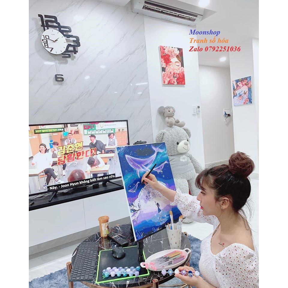 Tranh sơn dầu số hóa rẻ,đẹp-tranh tô màu theo số- tranh cô gái xanh biển, Tặng khăn,có khung 40x50-