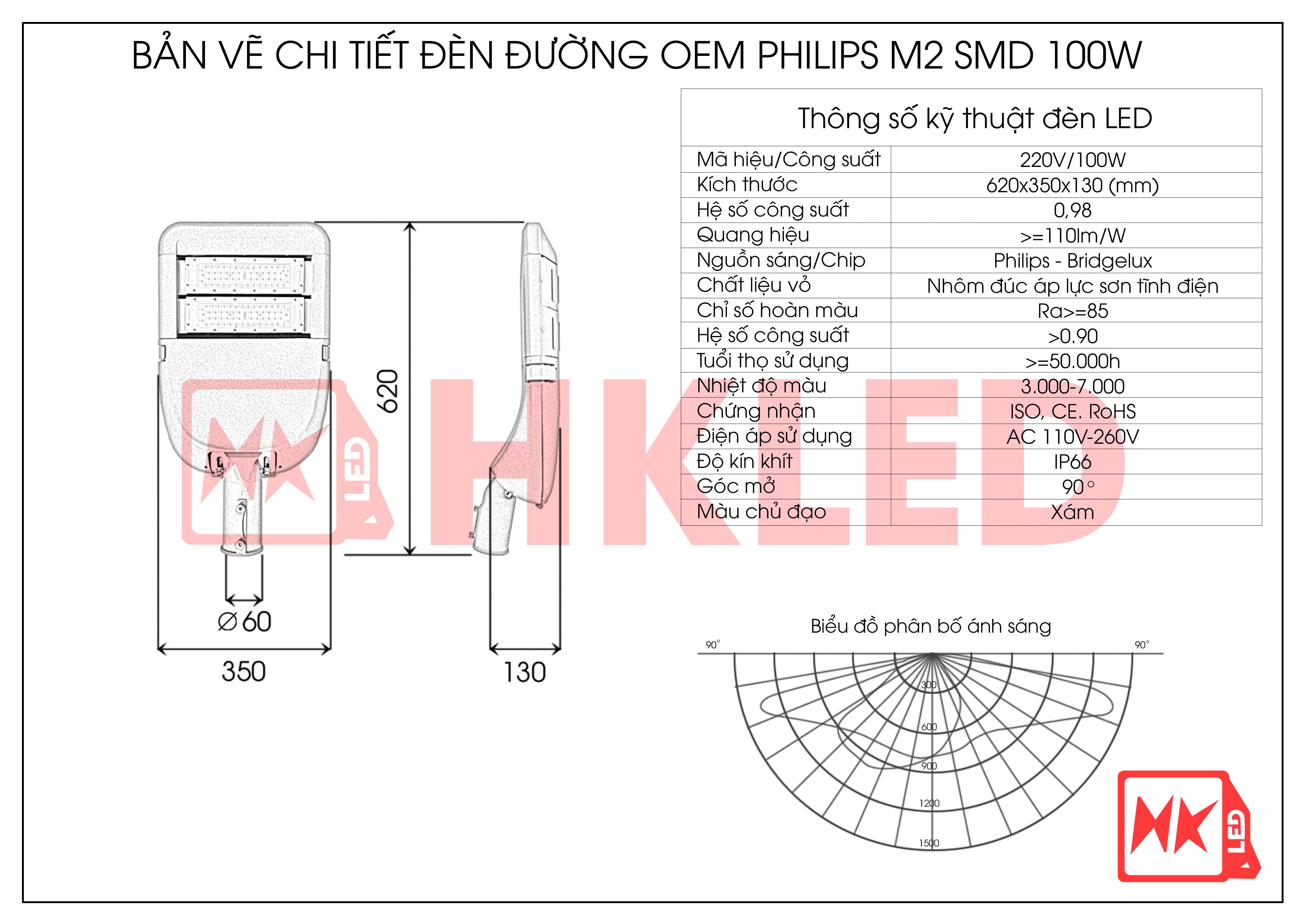 HKLED - Đèn đường phố OEM Philips Module M2 Driver DONE công suất 100W - DDM02M100