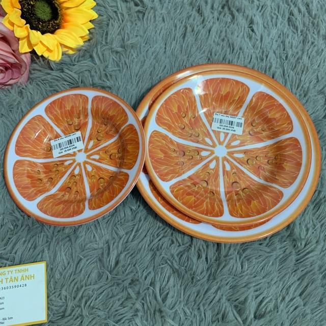 Dĩa nhựa melamine sâu dày màu cam