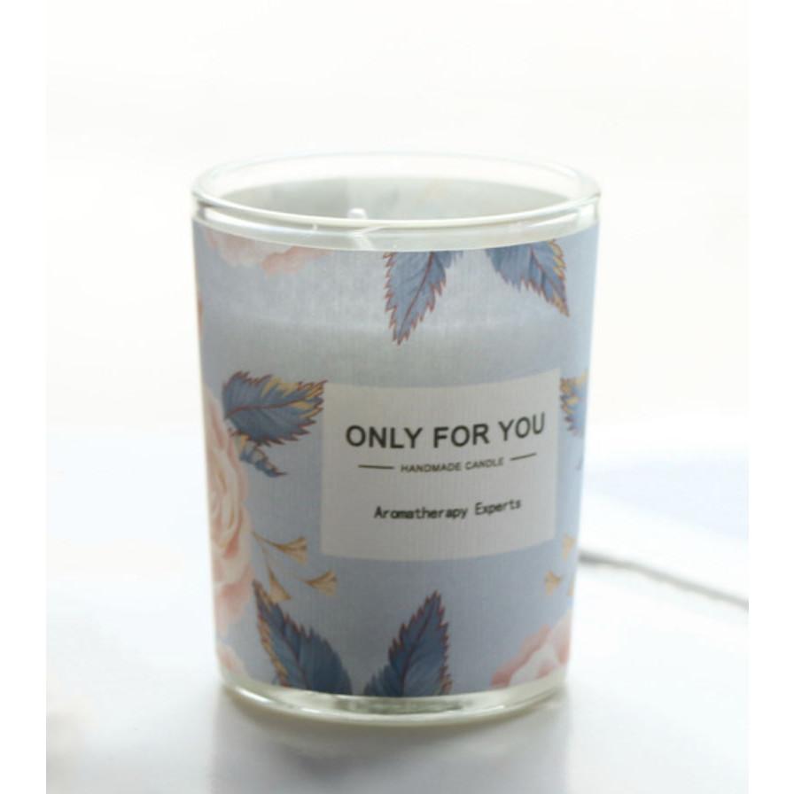 Nến sáp thơm cốc thủy tinh Handmade Only for you họa tiết 5x6cm