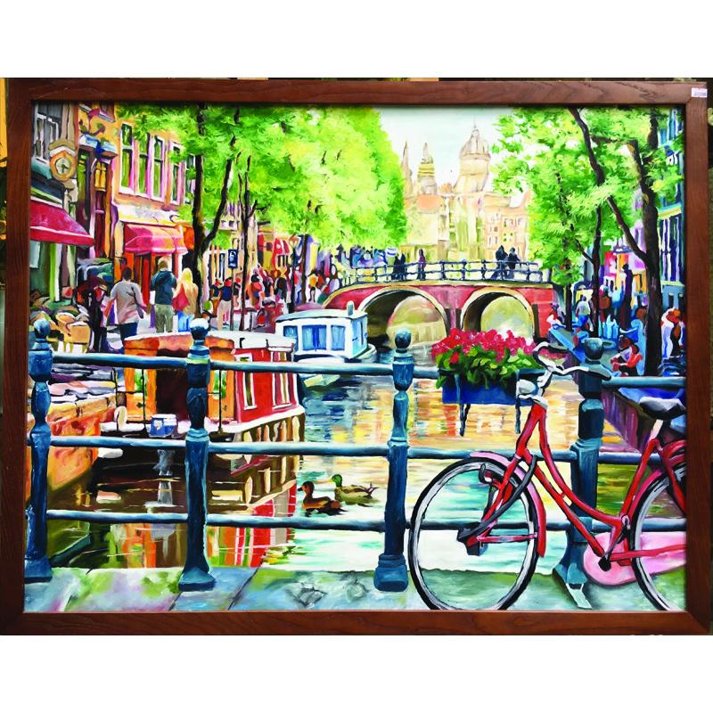 Tranh sơn dầu vẽ tay Phố Amsterdam OP024
