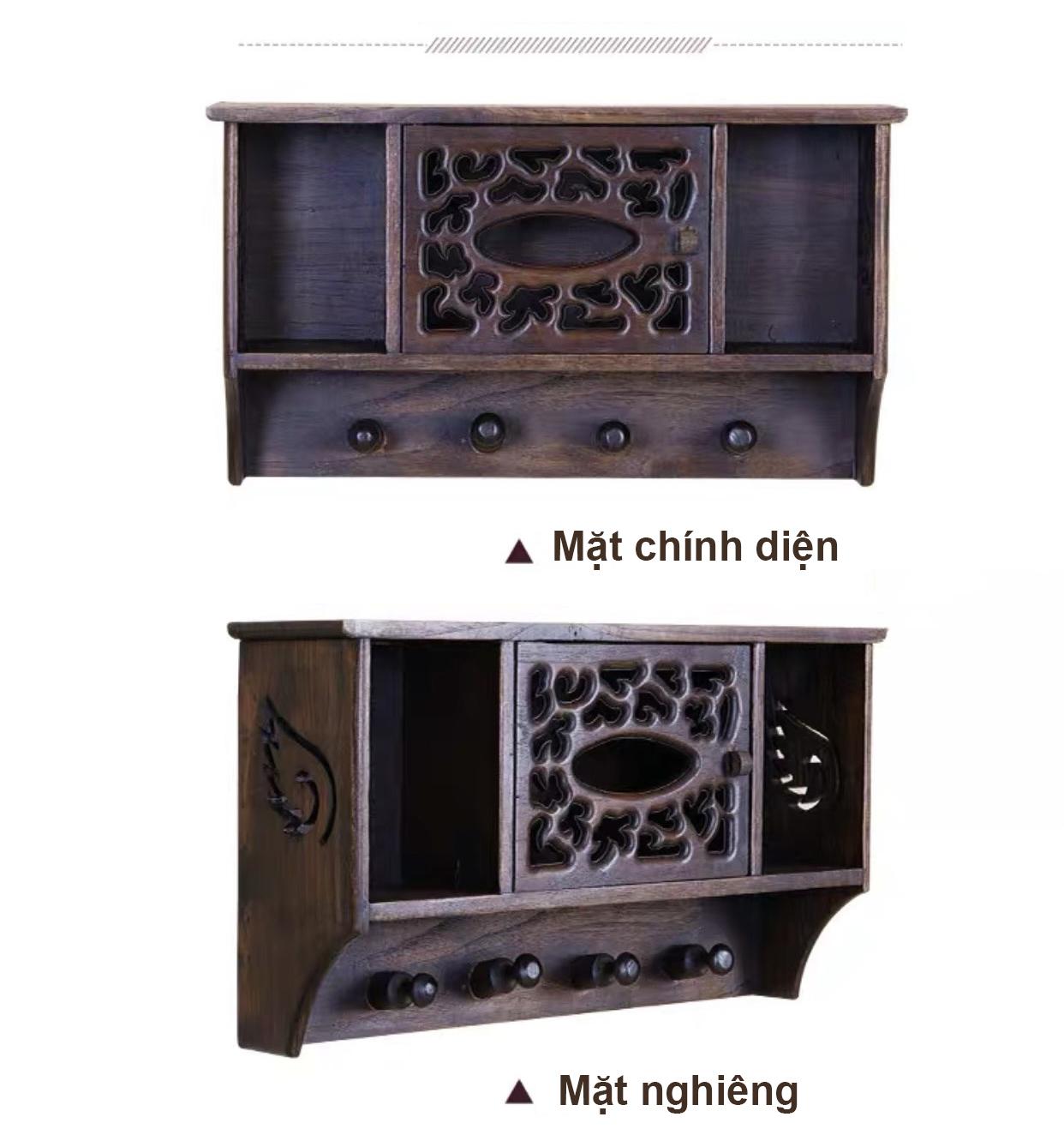 Kệ để đồ và treo khăn bằng  gỗ cao cấp GG646 – Thiết kế cổ xưa, tinh tế và sang trọng