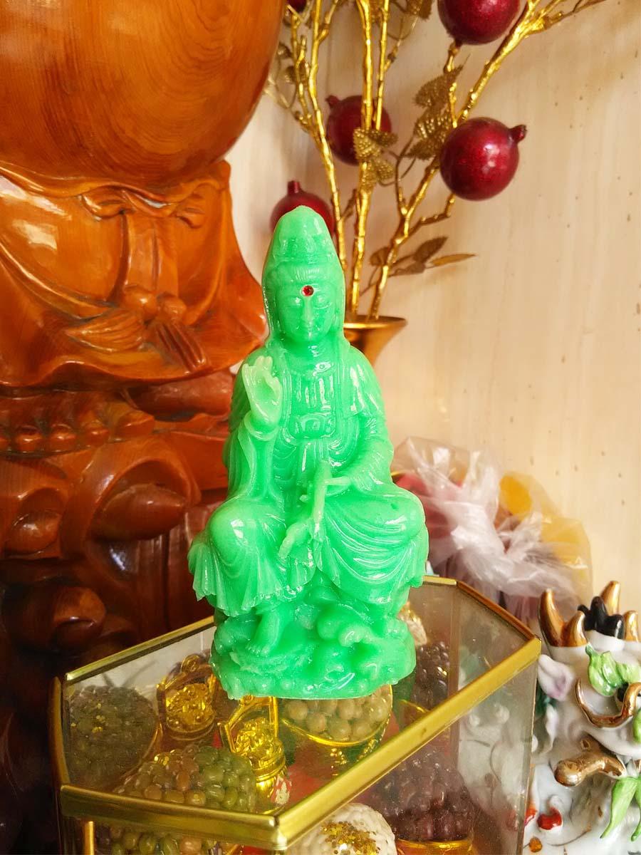 Tượng Phật Bà Quan Âm Đá Poly Xanh PBDX12