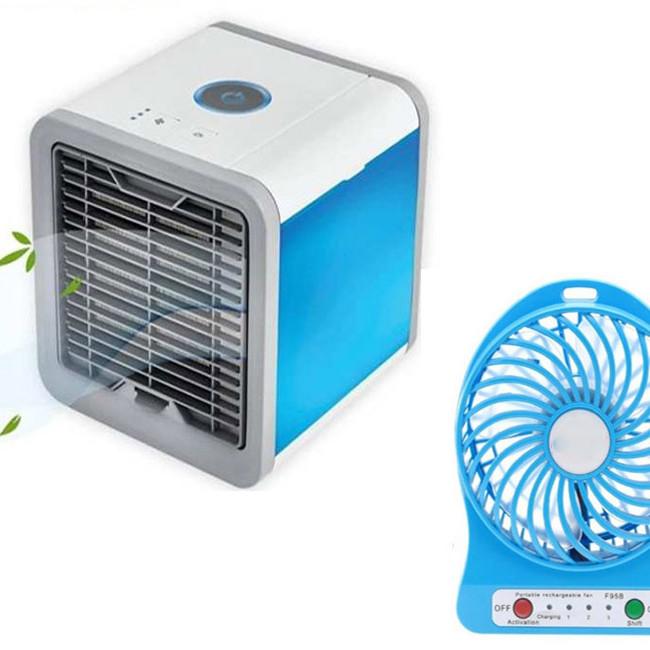Combo Quạt mini điều hòa làm mát  bằng hơi nước và Quạt mini 3 chế độ để bàn