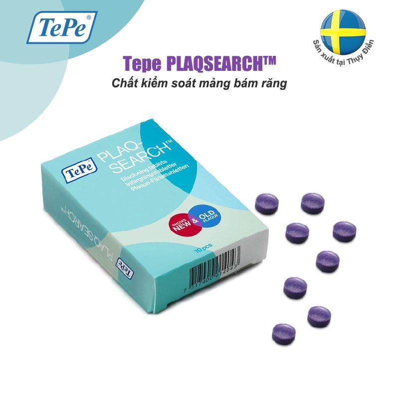 Chất kiểm soát mảng bám răng Tepe Plaqsearch Hộp 10 viên