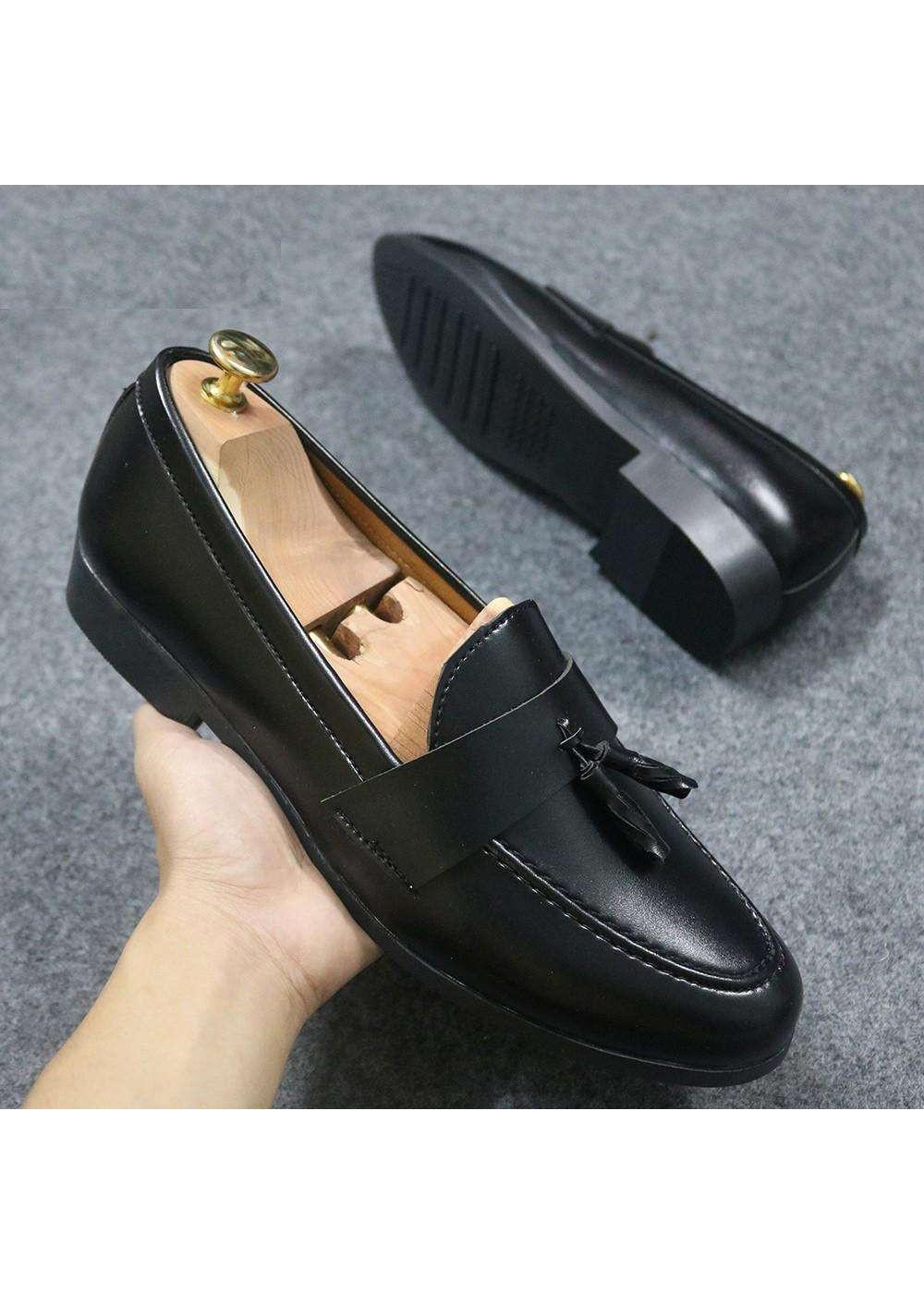 Giày nam kiểu hàn quốc chuông nơ màu đen