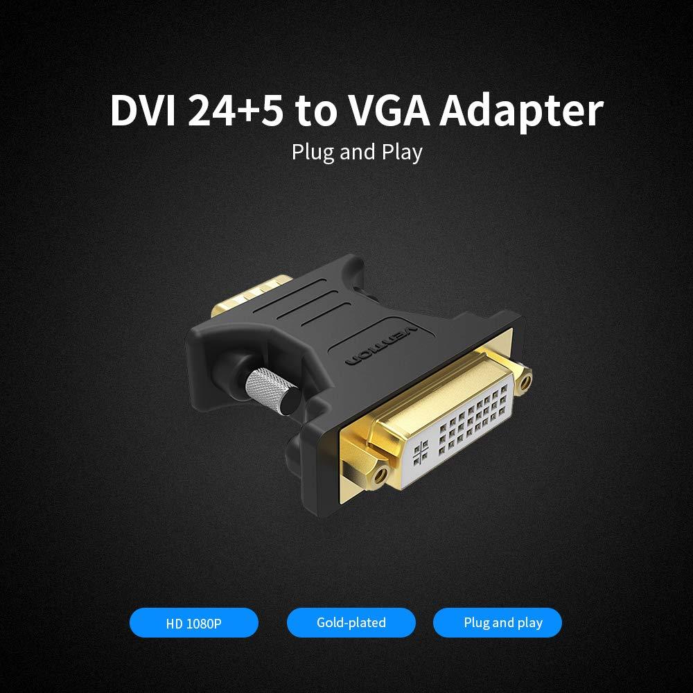 Đầu chuyển DVI(24+5) Female to VGA Male Vention màu đen DV350VG - Hàng chính hãng