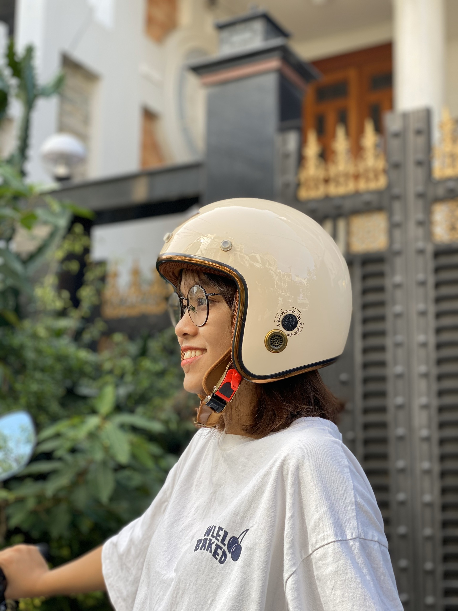 Mũ Bảo Hiểm ¾ Napoli SH2 Ruby Kem bóng lót nâu - Free Size (55-58cm)