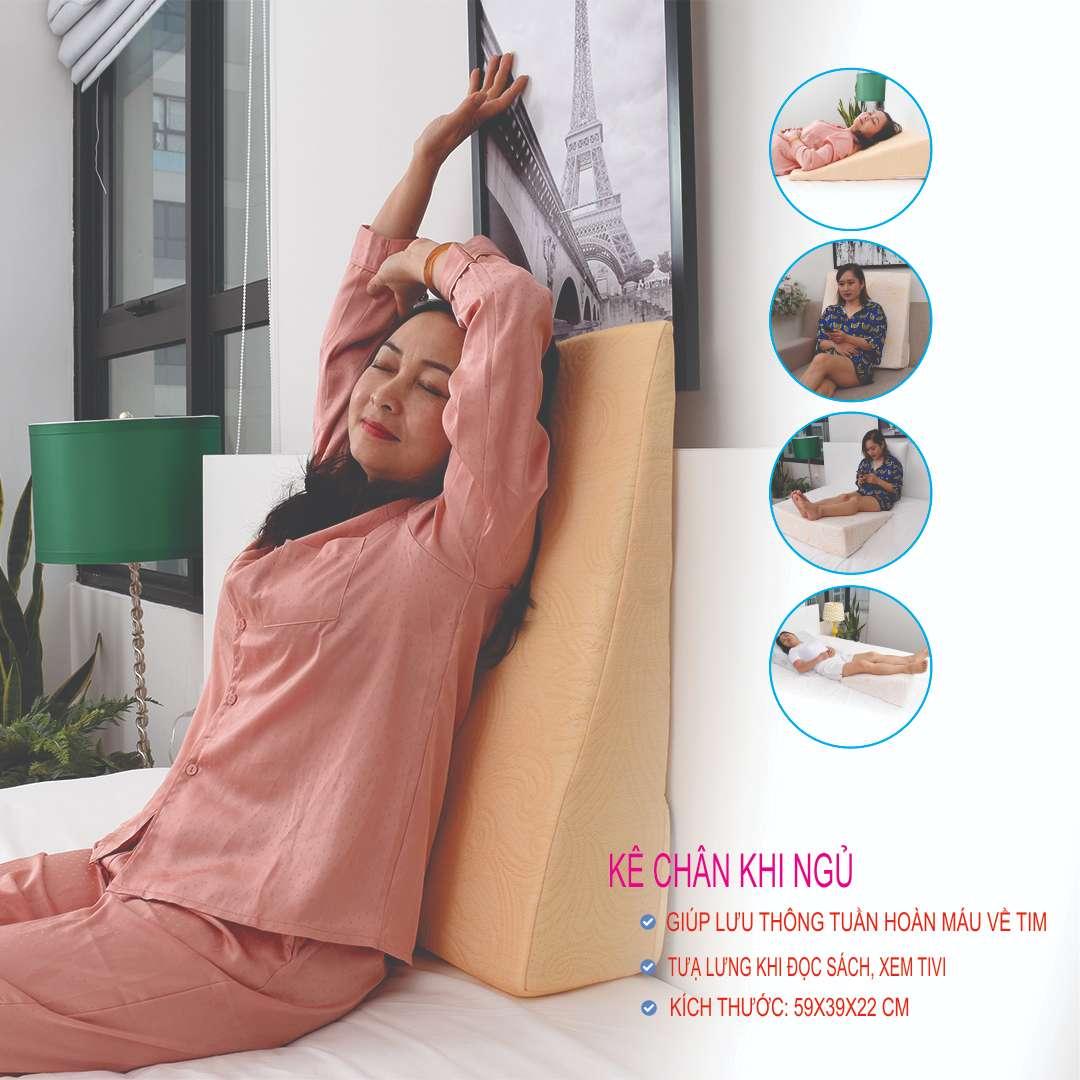 Gối chống trào ngược dạ dày người lớn AIRU- Kích thước 65*60*16cm- Chống trào ngược acid dạ dày về đêm, ợ chua, ợ hơi, chống ngáy, viêm họng mãn tính