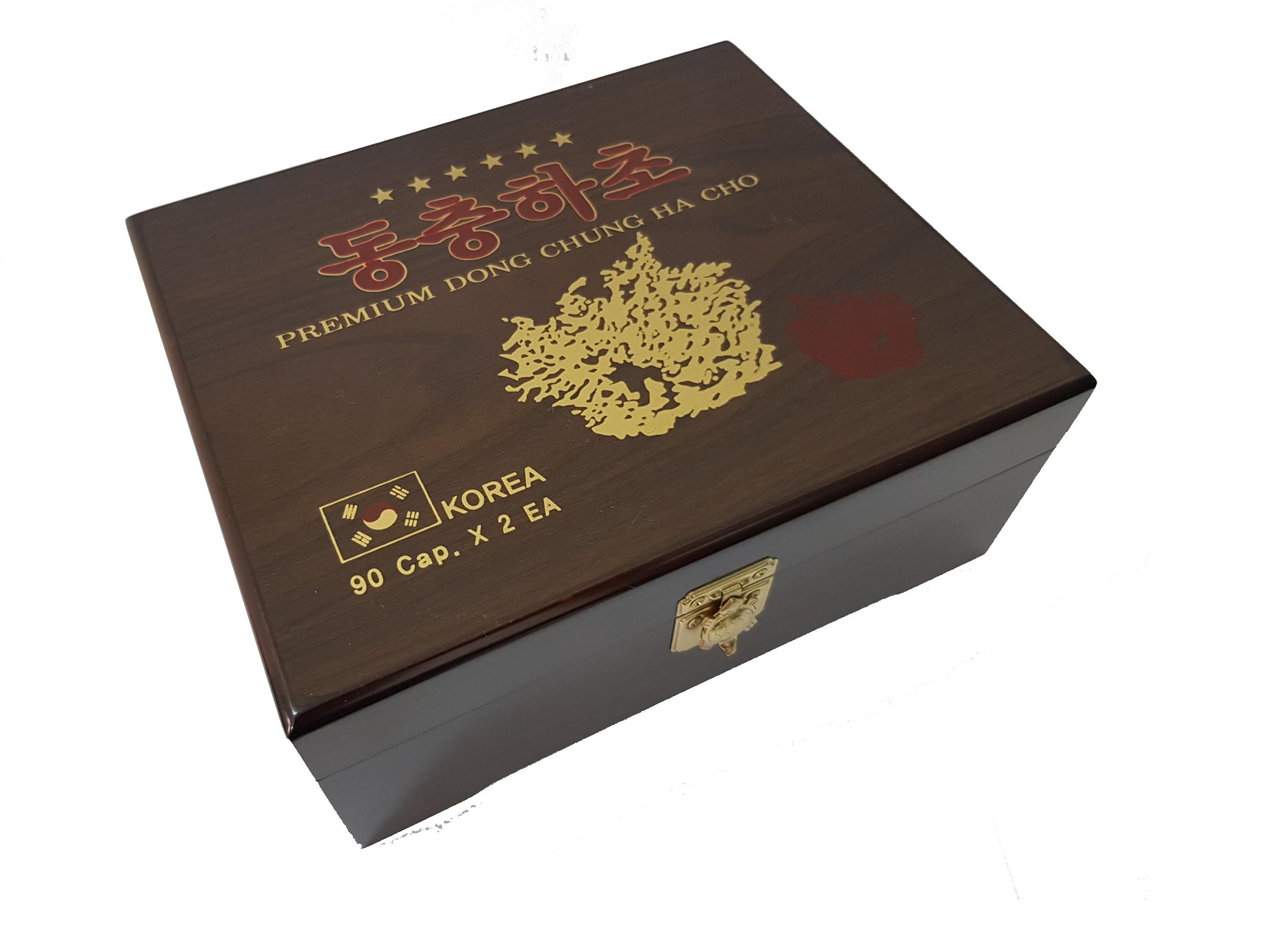 Thực phẩm chức năng: Combo 1 Hộp gỗ Đông Trùng Hạ Thảo + Kèm 1 Hộp Kẹo Mềm Hồng Sâm 200g