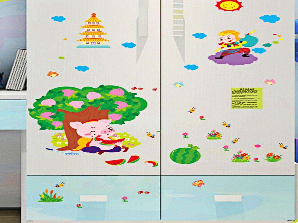 Decal dán tường hoạt hình tôn ngộ không và chư bát giới sk9257