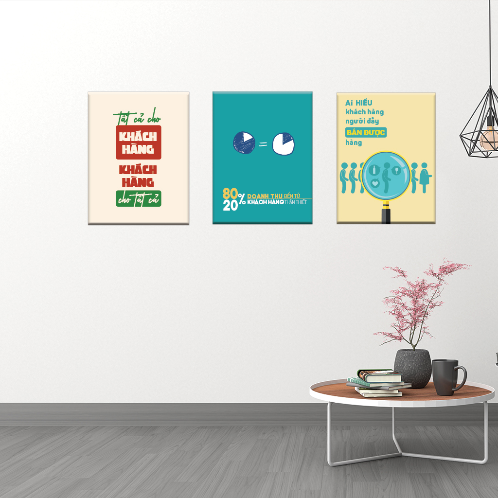 Bộ 03 tranh canvas trang trí Văn phòng