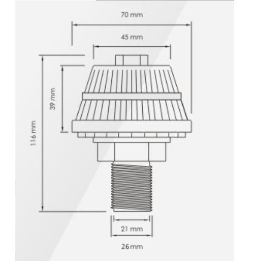 Chụp lọc nước ngắn màu vàng  F0501/ABS