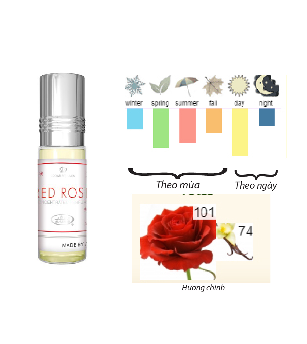 Tinh dầu nước hoa NỮ_ Red Rose Al-Rehab (hàng chính hãng)