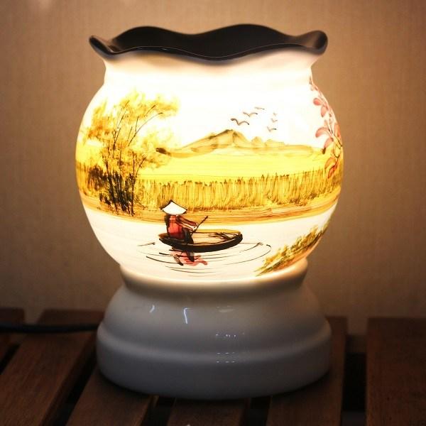 Đèn Xông Tinh Dầu Bát Tràng Gốm Sứ Thấu Quang Cỡ Trung - Đèn Đốt Tinh Dầu Sứ Thấu Quang Bóng Halogen 33w