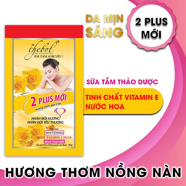 Sữa tắm thảo dược tinh chất Vitamin E, nước hoa Thebol 2 Plus 10 gói x 6g (Combo 5 dây)