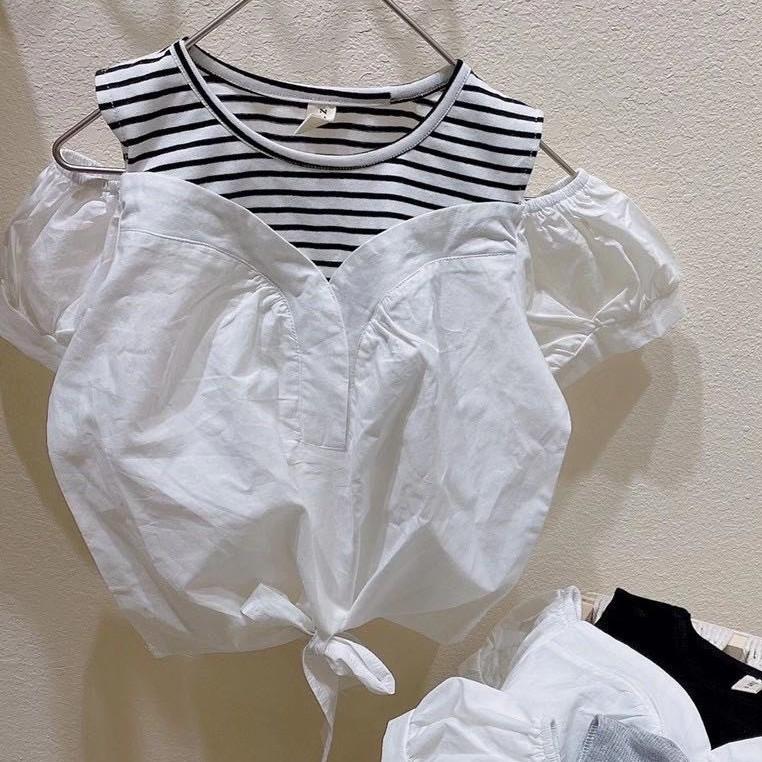 Áo cộc tay trễ vai thời trang bé gái 3-8 tuổi