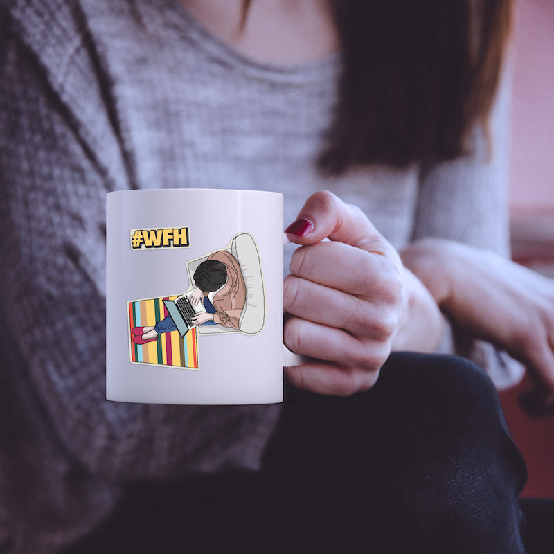 Work from home #WFH - Single Sticker hình dán lẻ