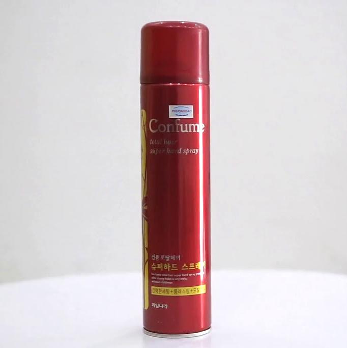 Gôm vuốt tóc siêu cứng Confume Super Hard Spray Hàn Quốc 300g tặng kèm móc khoá
