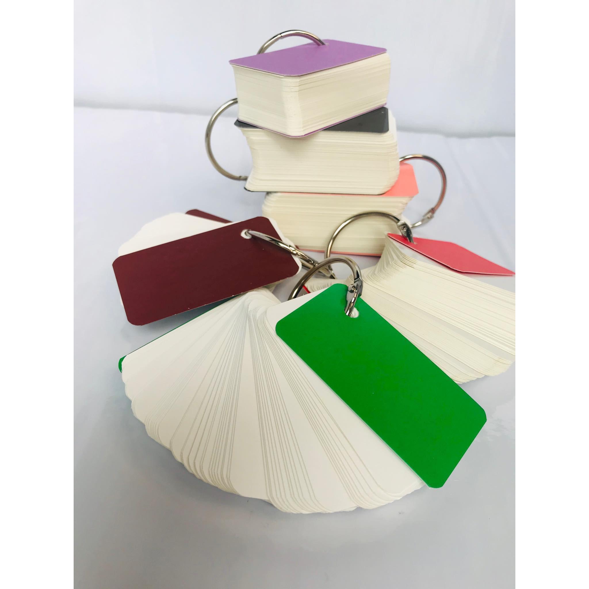 combo 10 bộ flashcard trắng 4X7cm ivory cao cấp định lượng 350gsm Bộ Thẻ Ghi Nhớ 100 thẻ học từ vựng Anh Nhật Hàn Trung bo góc kèm khoen + BÌA CỨNG 3D