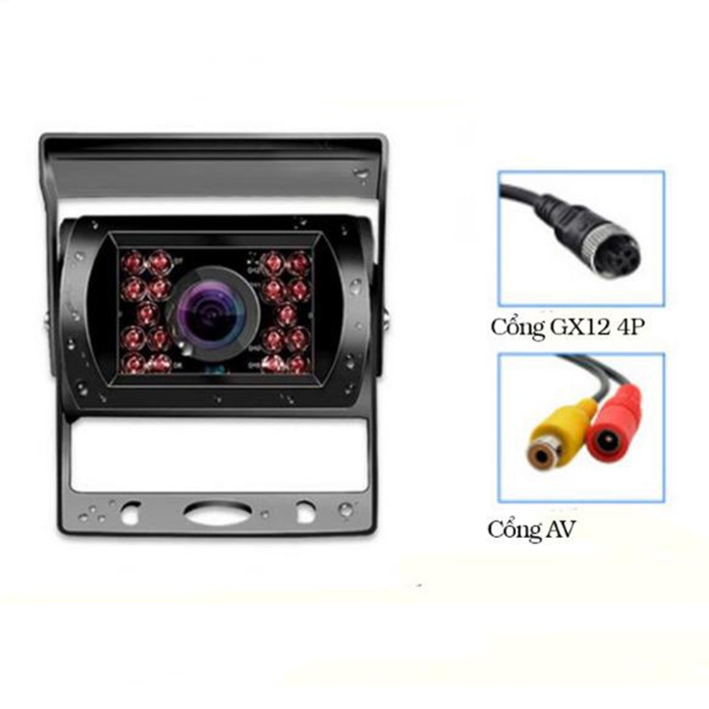 Camera Lùi Chống Nước Gắn Xe Tải 12-24V cổng GX12 4P