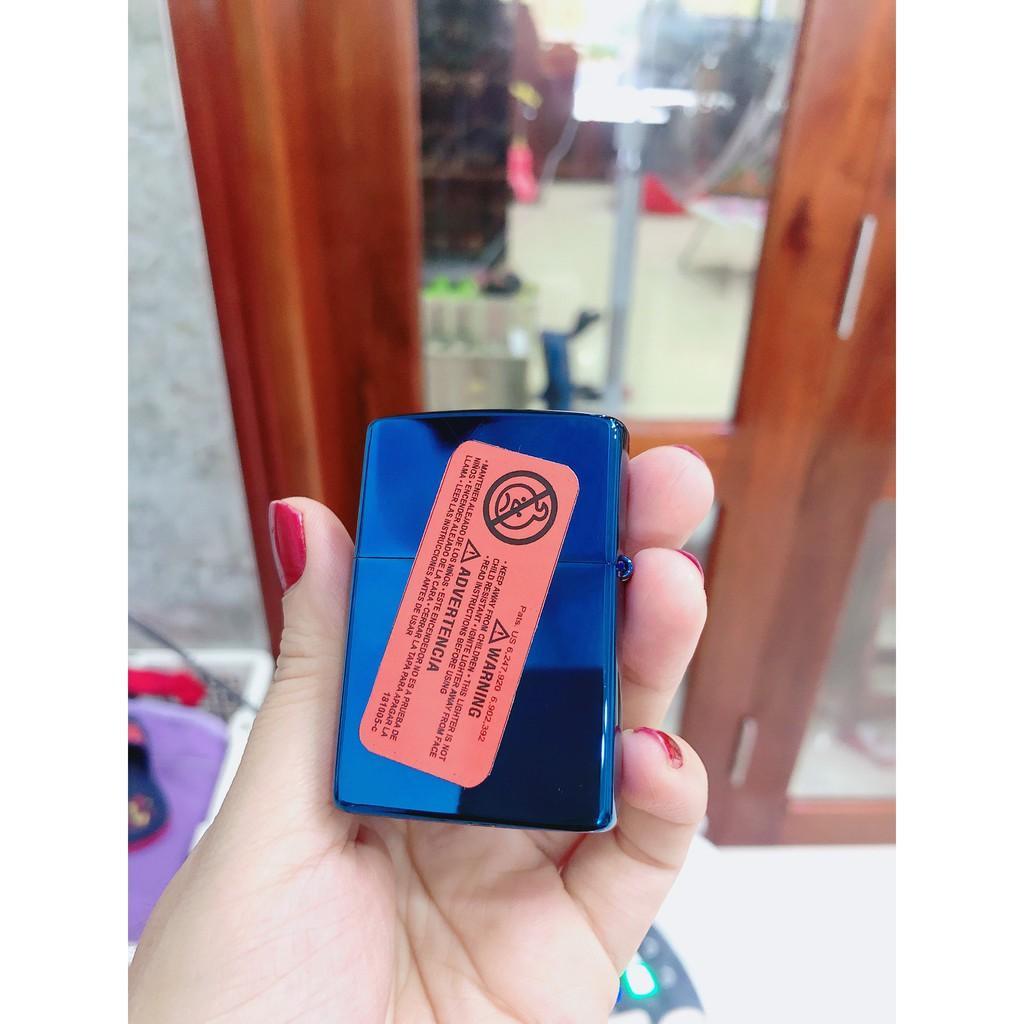 Bật Lửa, hộp quẹt Zippo Màu Xanh Saphire Logo - Có Tem Đỏ