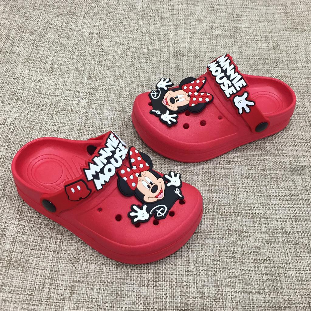 Dép sục Thái Lan cao cấp siêu nhẹ hình chuột Mickey cho bé gái dễ thương có quai hậu chống trơn trượt màu đỏ hồngHNM226A