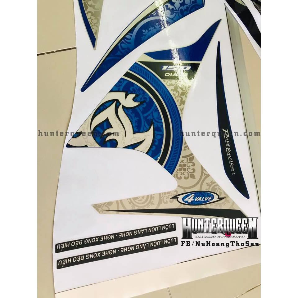 Tem uv ép nhiệt dành cho xe EXCITER 2011, LC, XANH TRẮNG (bộ)