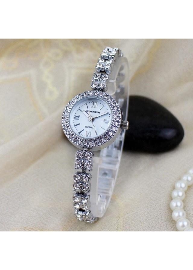 Đồng hồ nữ Kingnuos cao cấp mặt đính đá dây thép không gỉ thời trang Ý