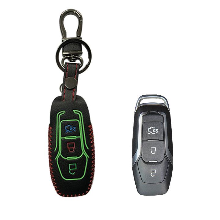 Bao da bọc chìa khóa da thật phản quang cao cấp Ford