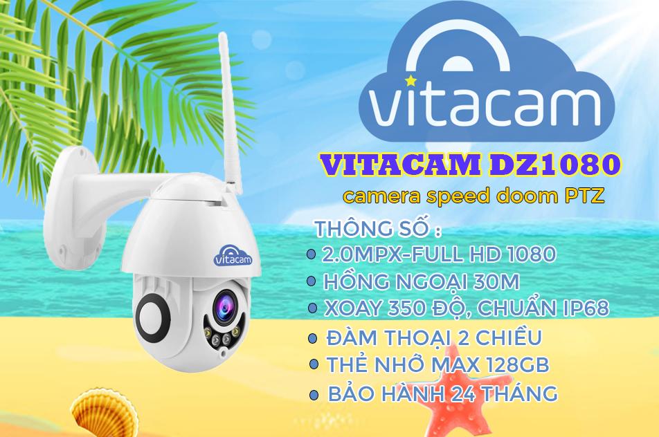 Camera ngoài trời vitacam DZ1080 S xoay 350 độ, đàm thoại 2 chiều, chống lóa ,chống nước chuẩn ip 68 - Hàng chính hãng