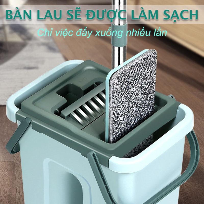 CÂY LAU NHÀ THÔNG MINH TỰ VẮT HHSM650 hai ngăn vắt và giặt, xả nước tiện lợi ở đáy thùng, bông lau tĩnh điện MICRO FIBER 33cm có hai đầu móc chắc chắn, nắp thùng dễ tháo rời vệ sinh