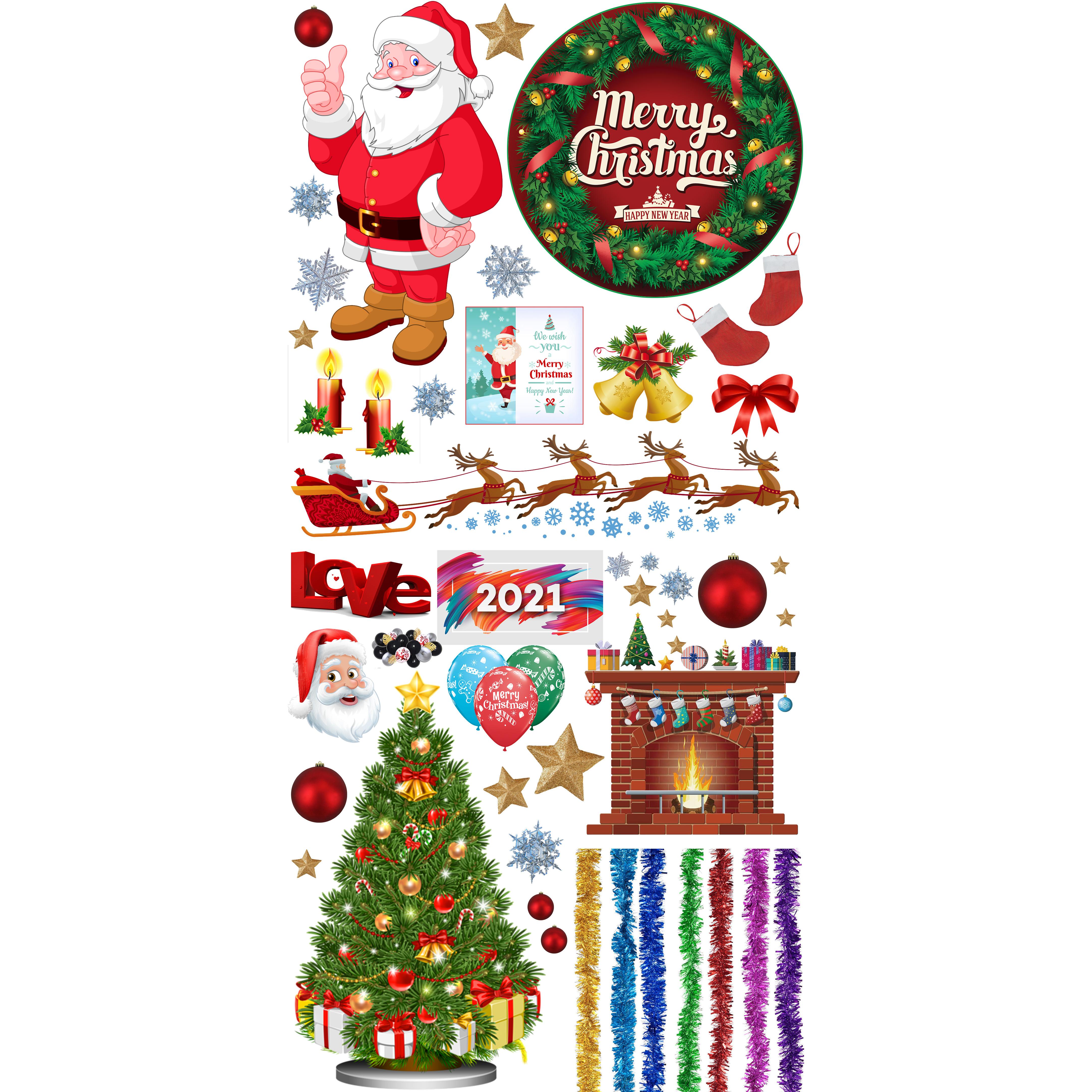 Trang Trí Noel ( marry christmas ) decal hình cắt sẵn dán tường , dán kinh