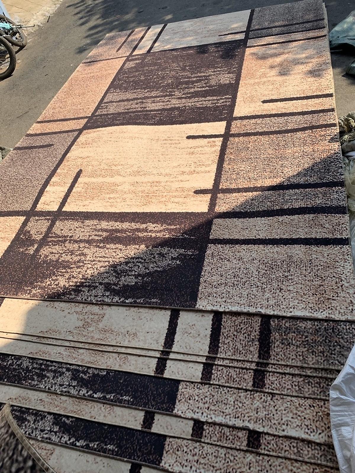 Thảm lì bali trải sàn họa tiết kẻ cao cấp 1m6x2m3