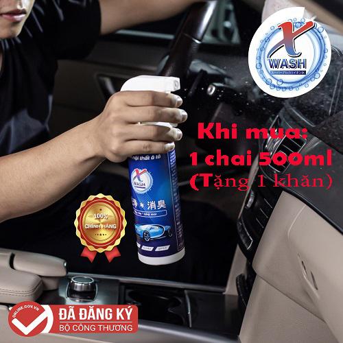 [CHÍNH HÃNG] XWash - Xịt tẩy rửa, khử mùi nội thất ô tô KHÔNG HÓA CHẤT  - Tặng khăn lông cừu cao cấp