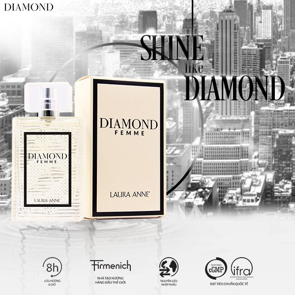 Nước hoa nữ Laura Anne Diamond Femme - White 45ml