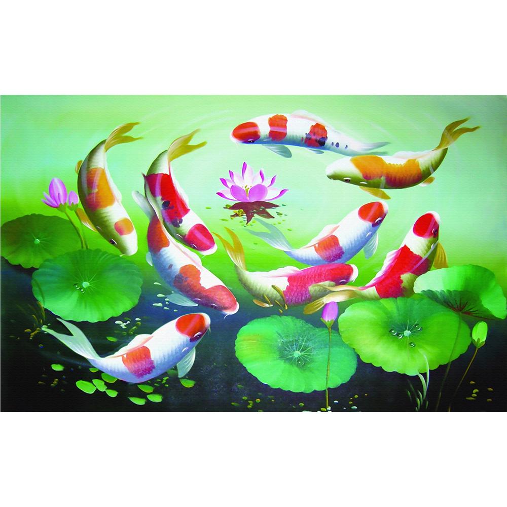 Tranh Cửu Ngư - Tranh Cá Chép Hoa Sen 006