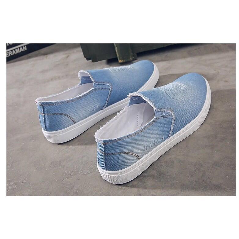 Giày Lười Vải Bò Nam Màu Xanh Nhạt ôm Chân