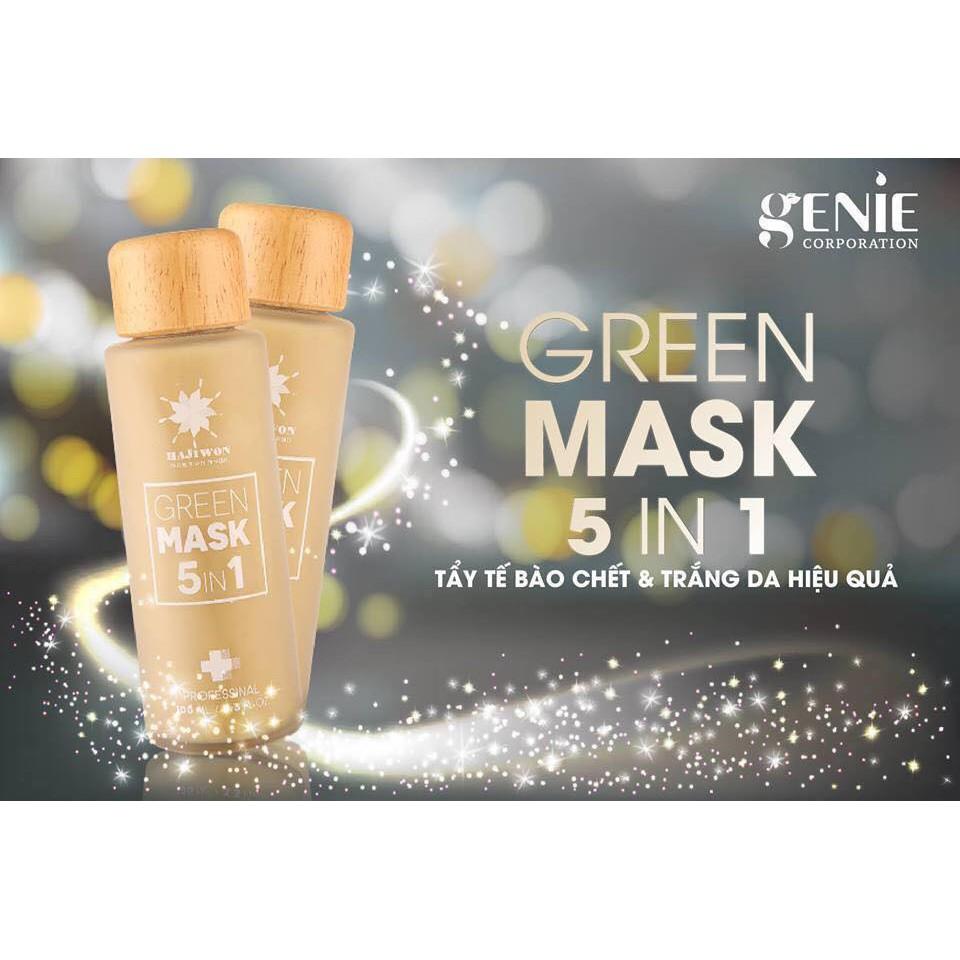 Mặt nạ tẩy da chết thải độc da sạch mụn cám, mụn đầu đen giúp da mịn màng  GREEN_MASK_5IN1_GENIE 100ml