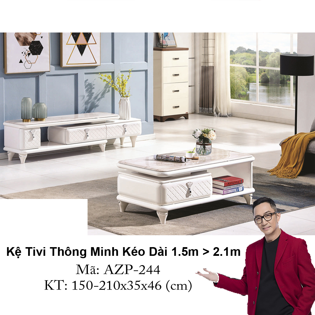 Kệ Tivi Mặt Đá Thông Minh Kéo Dài AZP-TV244 / Dòng Cao Cấp - Hàng Nhập Khẩu