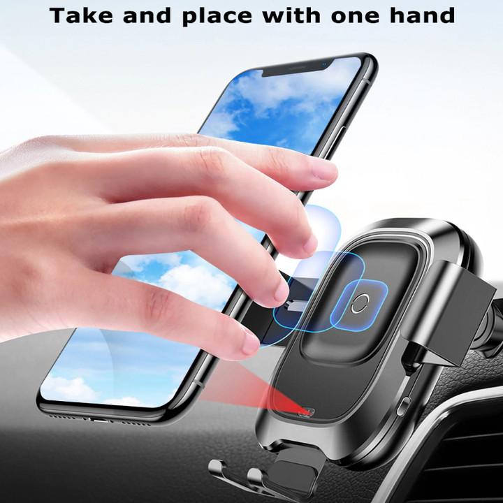 Gía đỡ điện thoại kiêm sạc không dây để taplo, kính lái trên ô tô cao cấp Baseus WXZN-B01 Wireless Charger Gravity Car Mount - Hàng chính hãng