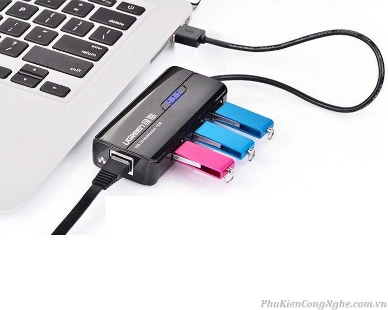 HUB USB 3 cổng 2.0 kèm cổng mạng LAN 10/100Mbps UGREEN CR103 20264 - Hàng Chính Hãng