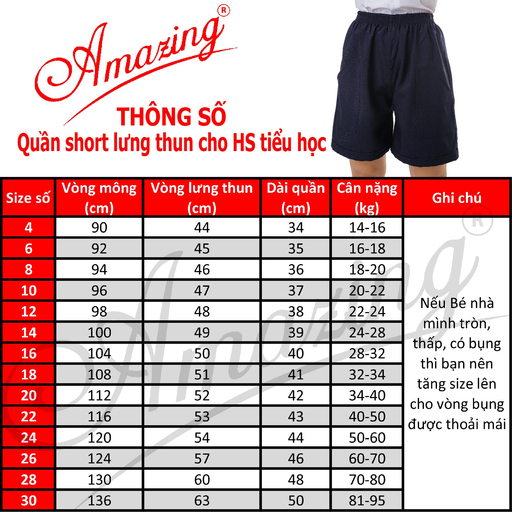 Quần đùi lưng thun học sinh cấp 1 hiệu Amazing, short xanh bé trai tiểu học, 2 túi đắp ngoài, size 14kg đến 95Kg
