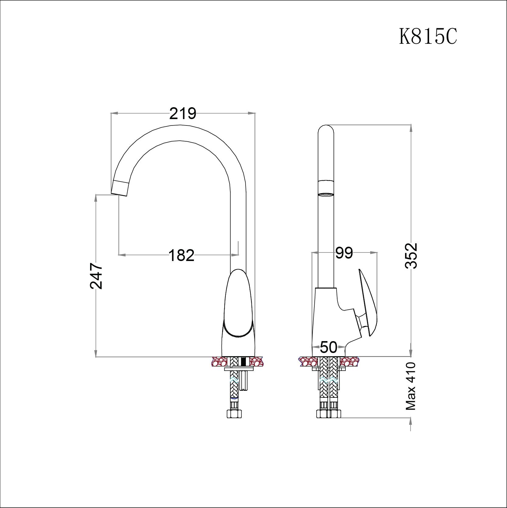 Vòi rửa bát (chén) nóng lạnh gắn chậu cao cổ  352 mm - Caesar K815C