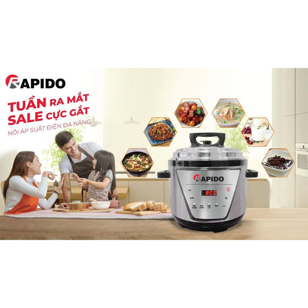 ️ Nồi áp suất điện đa năng Rapido RPC900-D tự động xả áp, 6 chức năng nấu (5L, 900W - Hàng chính hãng) Bảo Hành Uy Tín